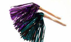 purple or teal violet wand mylar flogger
